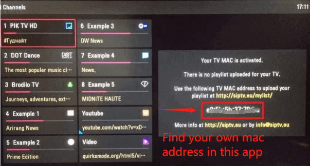 how to find out mac address in smart iptv